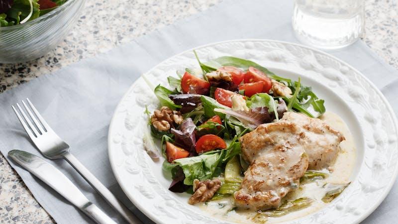 Keto blue cheese chicken with walnut salad