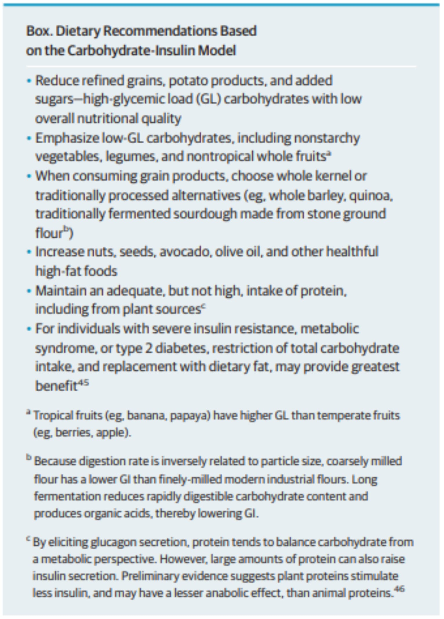 Dietary recommendations based on the carb insulin model