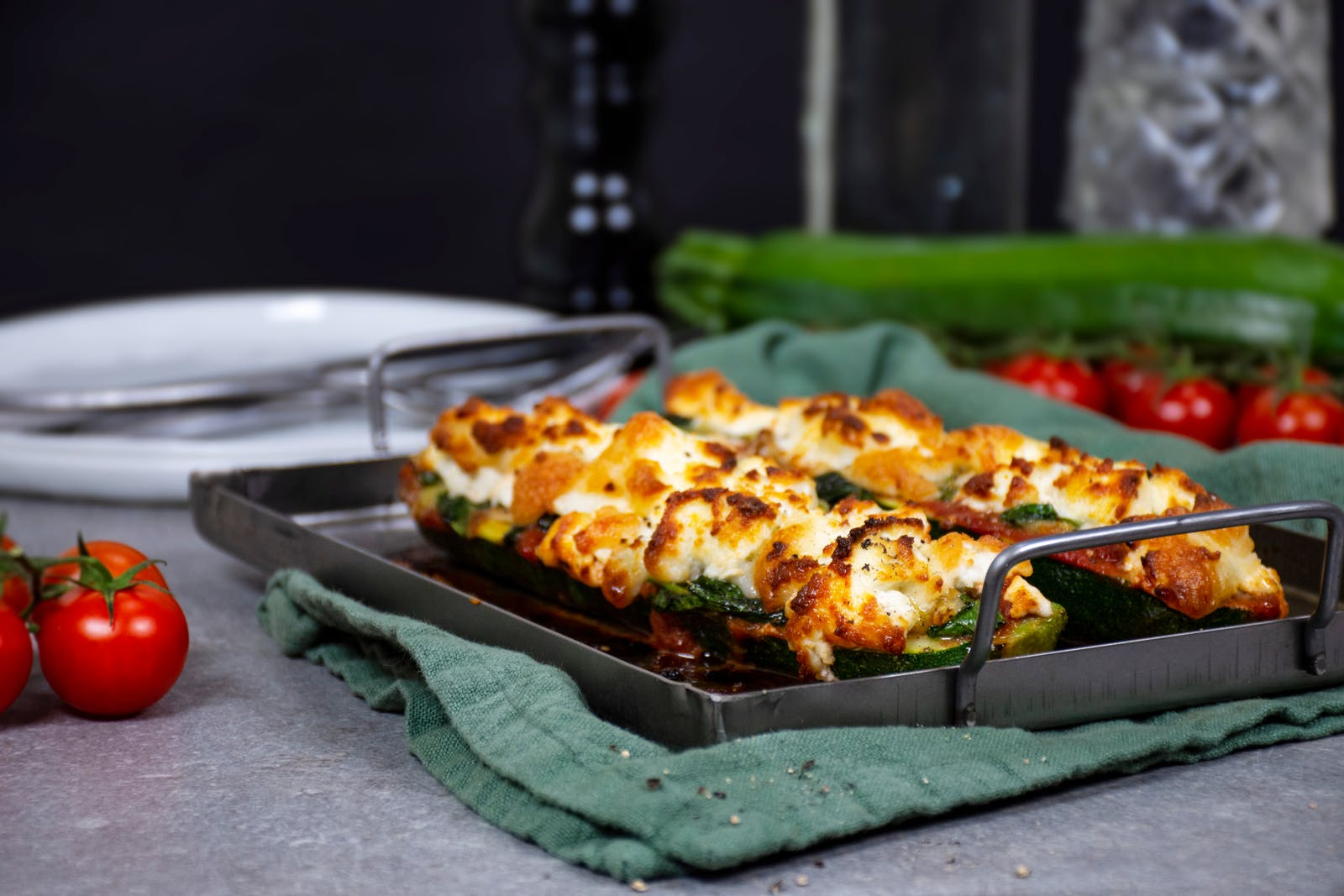 Keto Zucchini Pizza Boats With Goat Cheese Recipe Diet Doctor