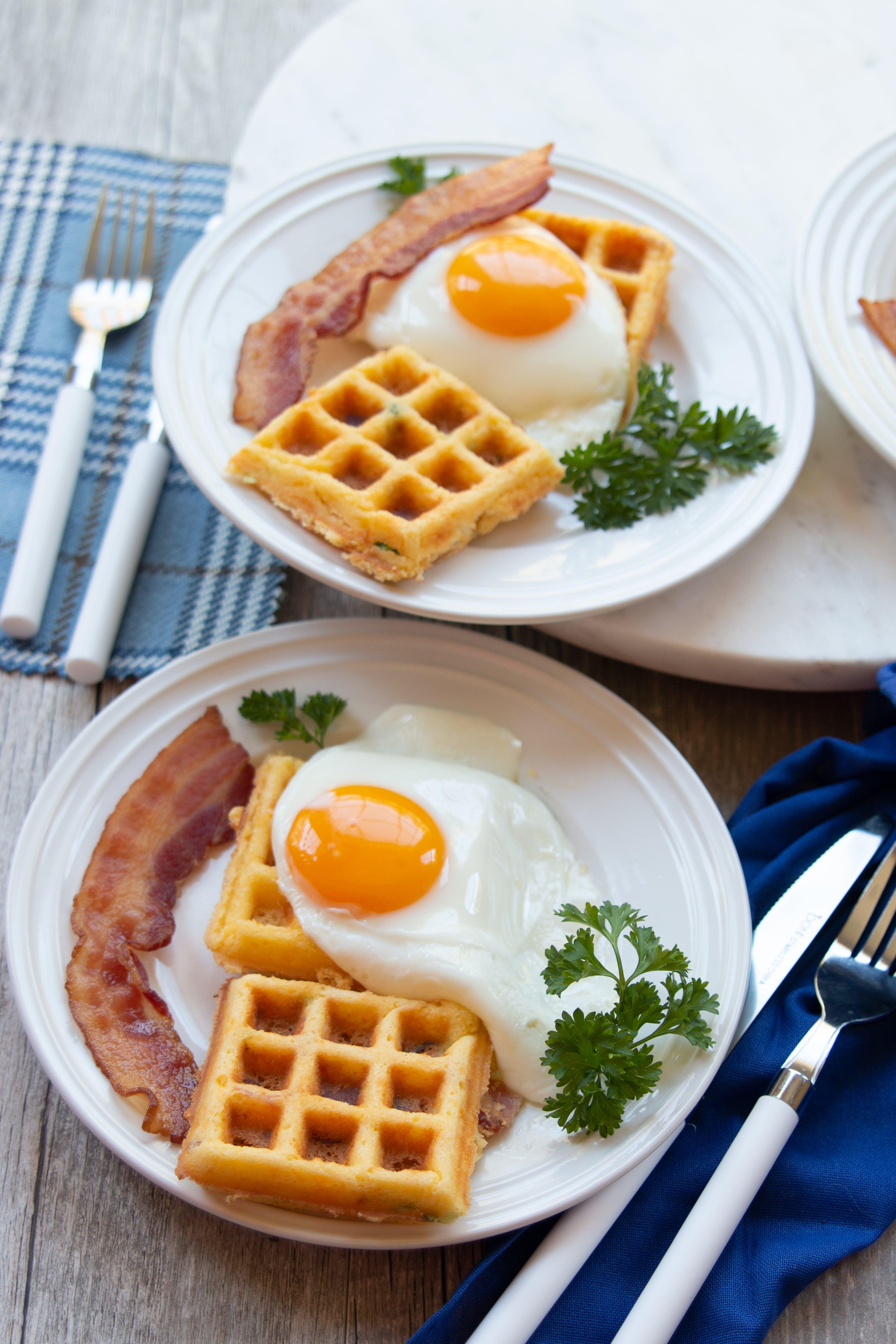 Keto bacon cheddar cornbread waffles with egg and bacon