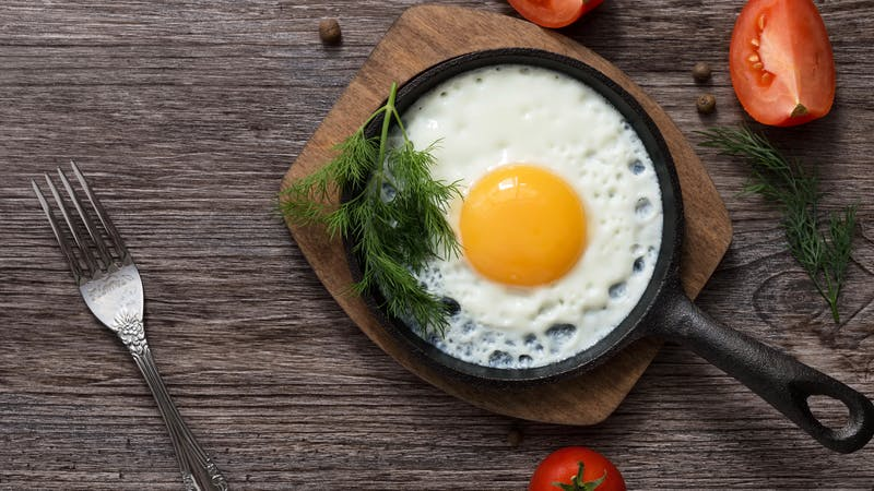 Fried eggs in a frying pan. Food. Breakfast. Healthy food.