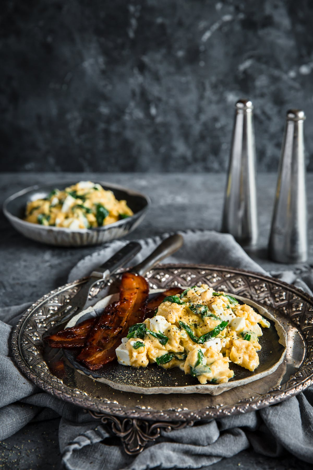 Spinach and feta breakfast scramble