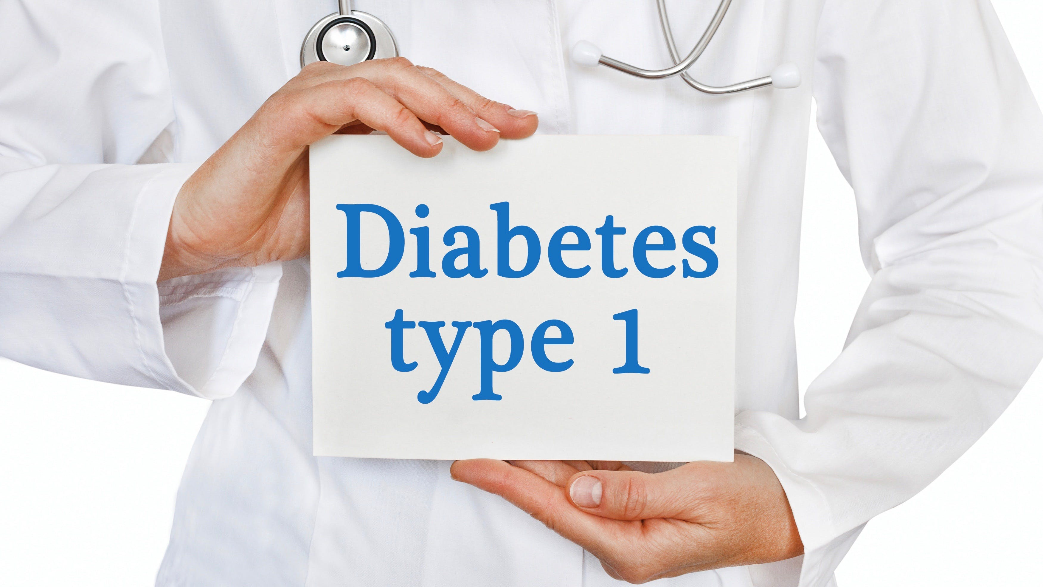 Diabetes Type 1 card in hands of Medical Doctor