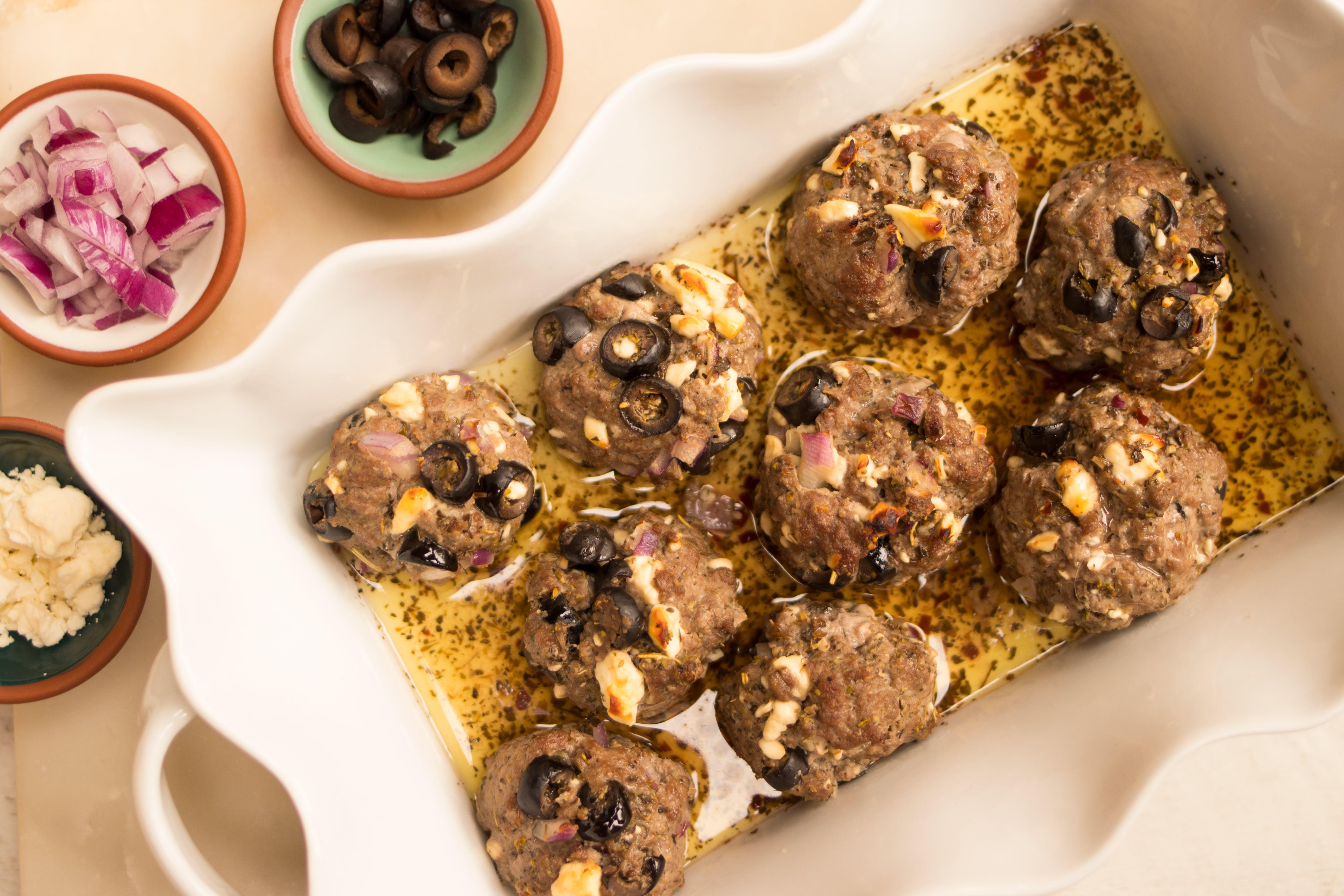 Keto gyro meatballs with Greek sauce