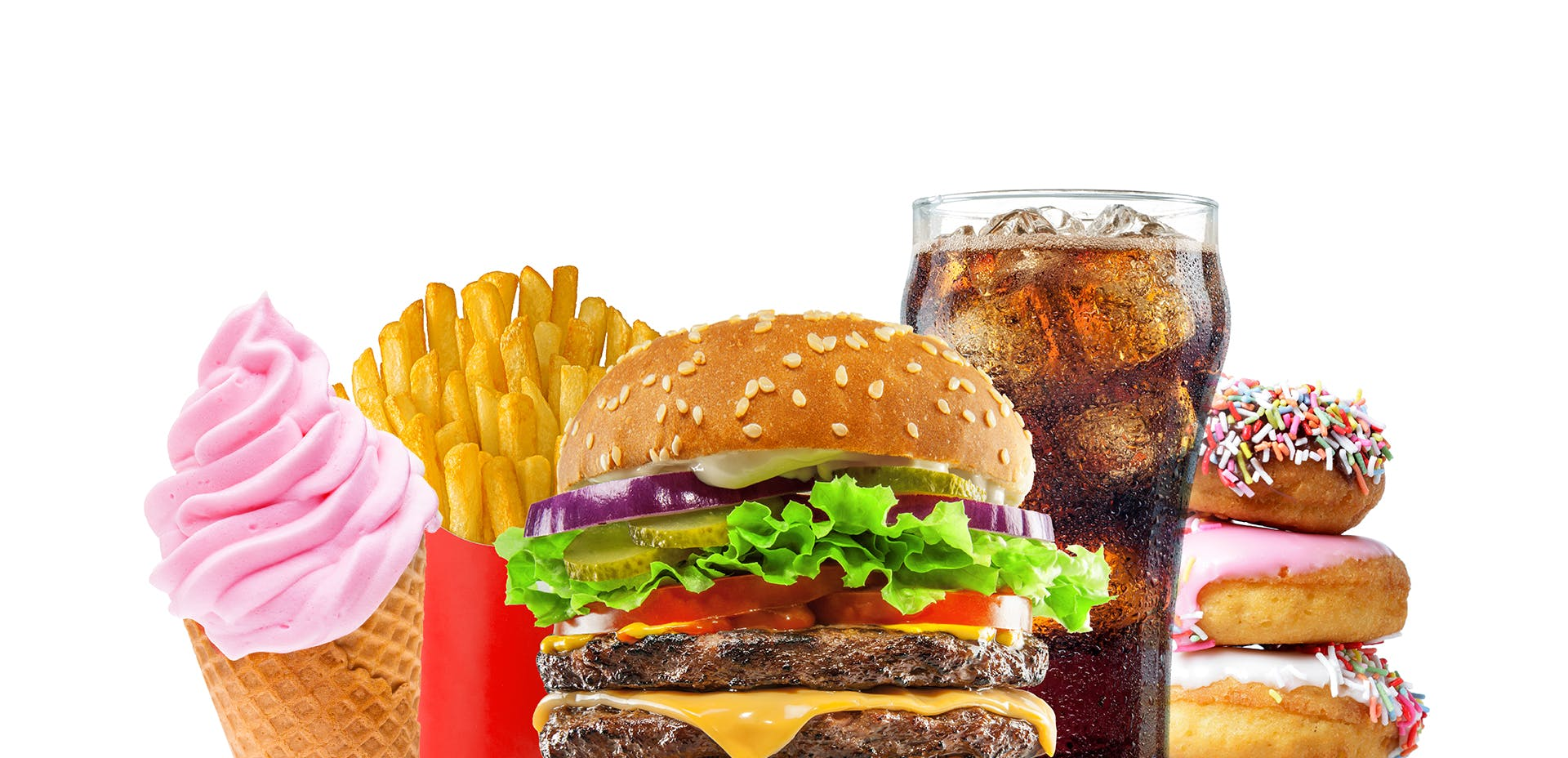 Double Cheese Burger with Glass of Cola and Fries