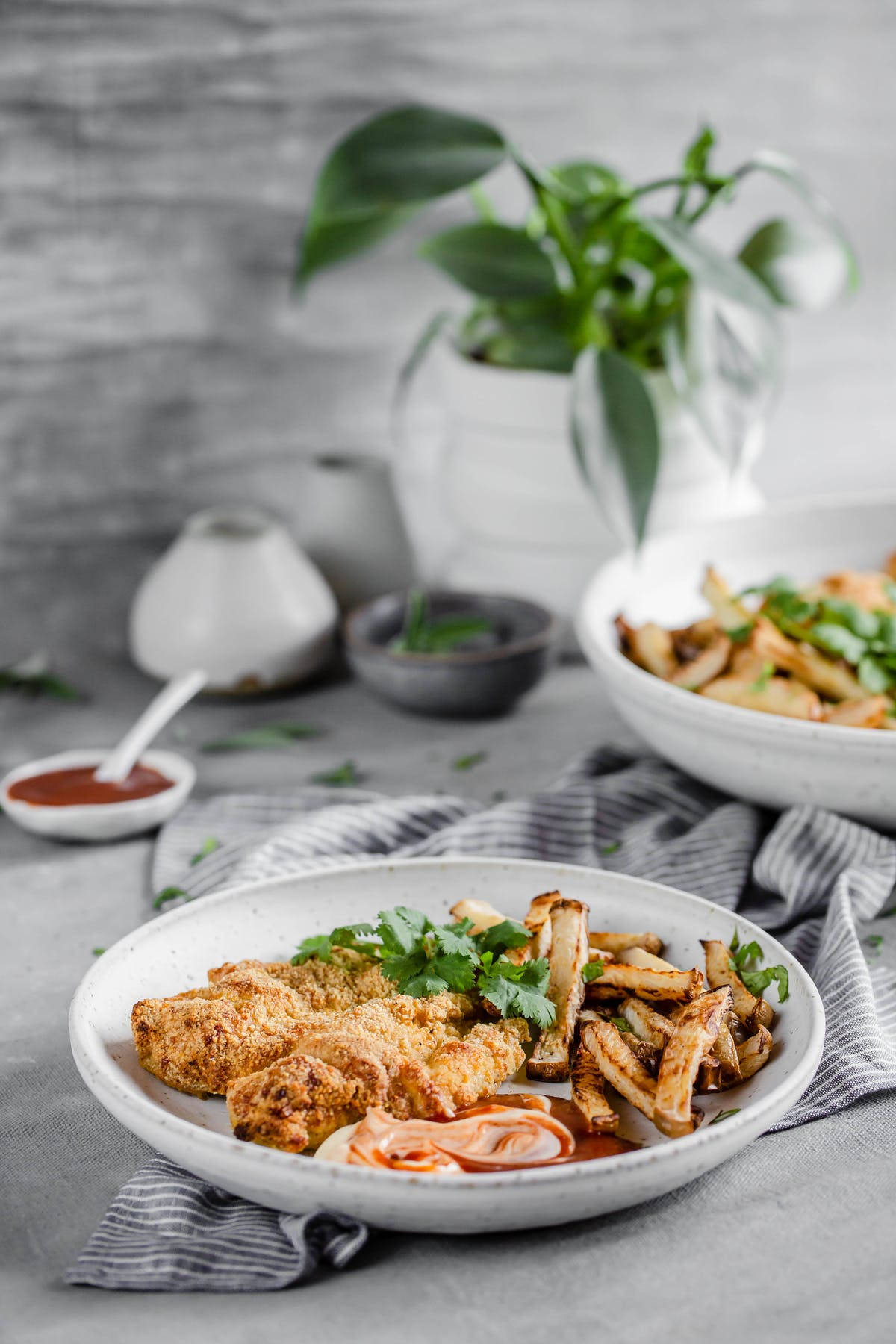 Low-carb chicken Milanese with turnip fries and BBQ dip