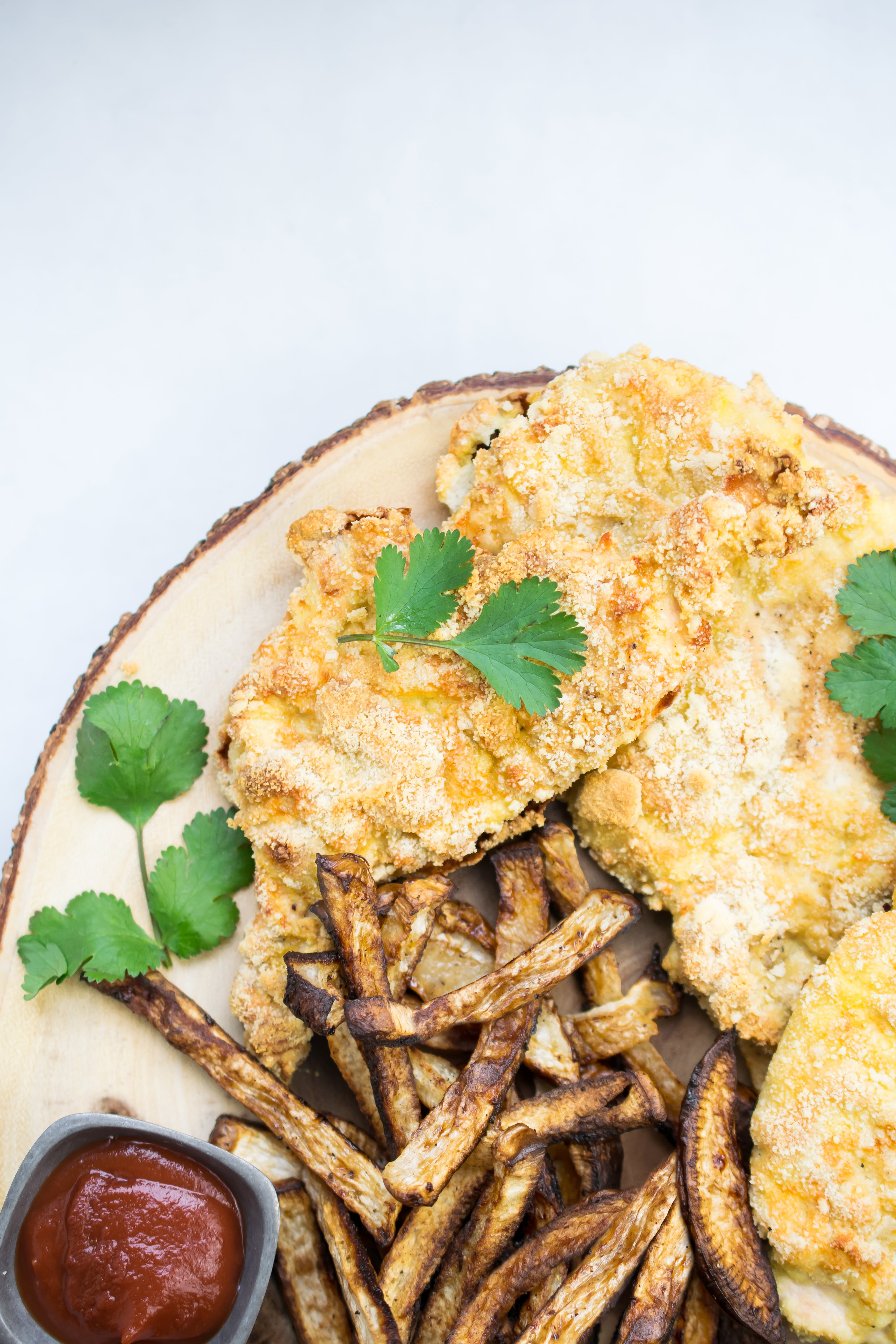 Low-carb chicken Milanese with turnip fries