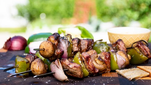Steak and veggie kebabs