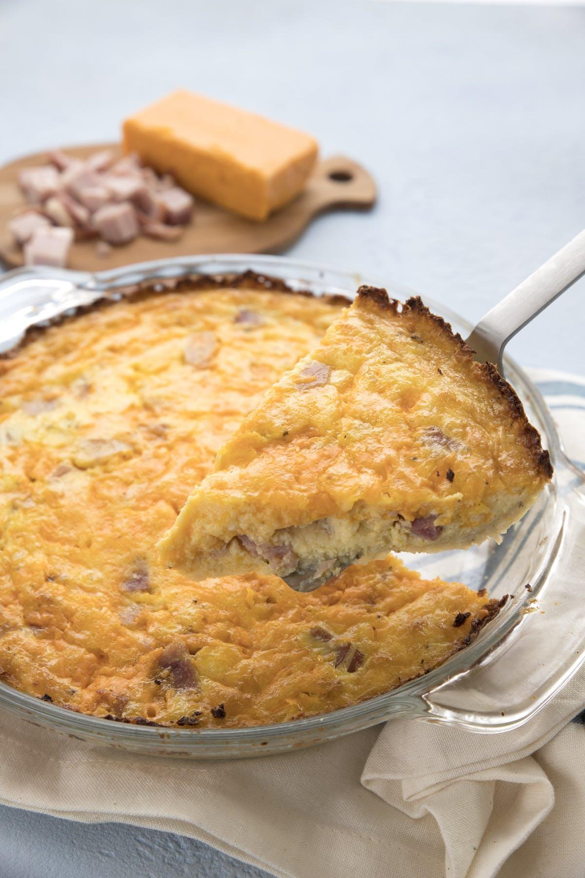 Ham & cheese quiche with cauliflower crust