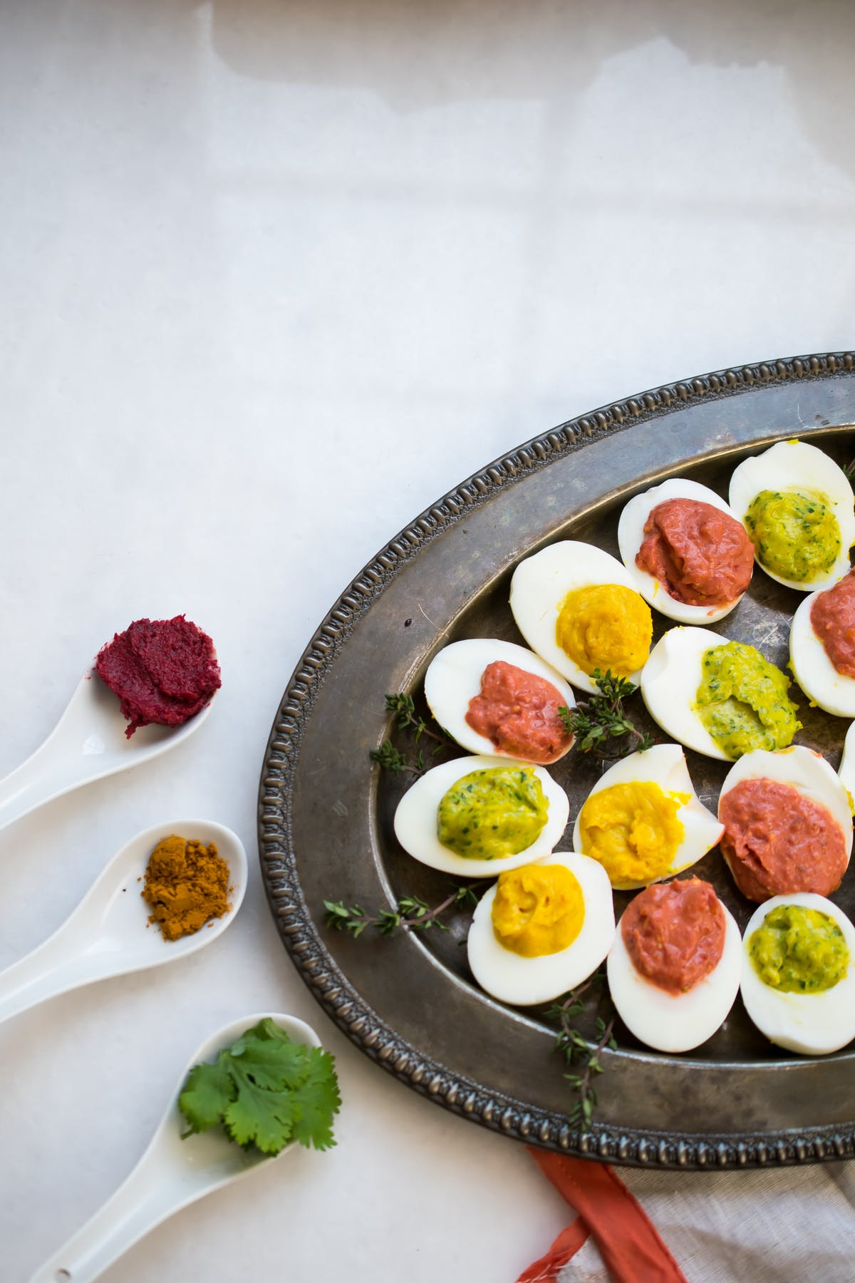 Keto spring deviled eggs