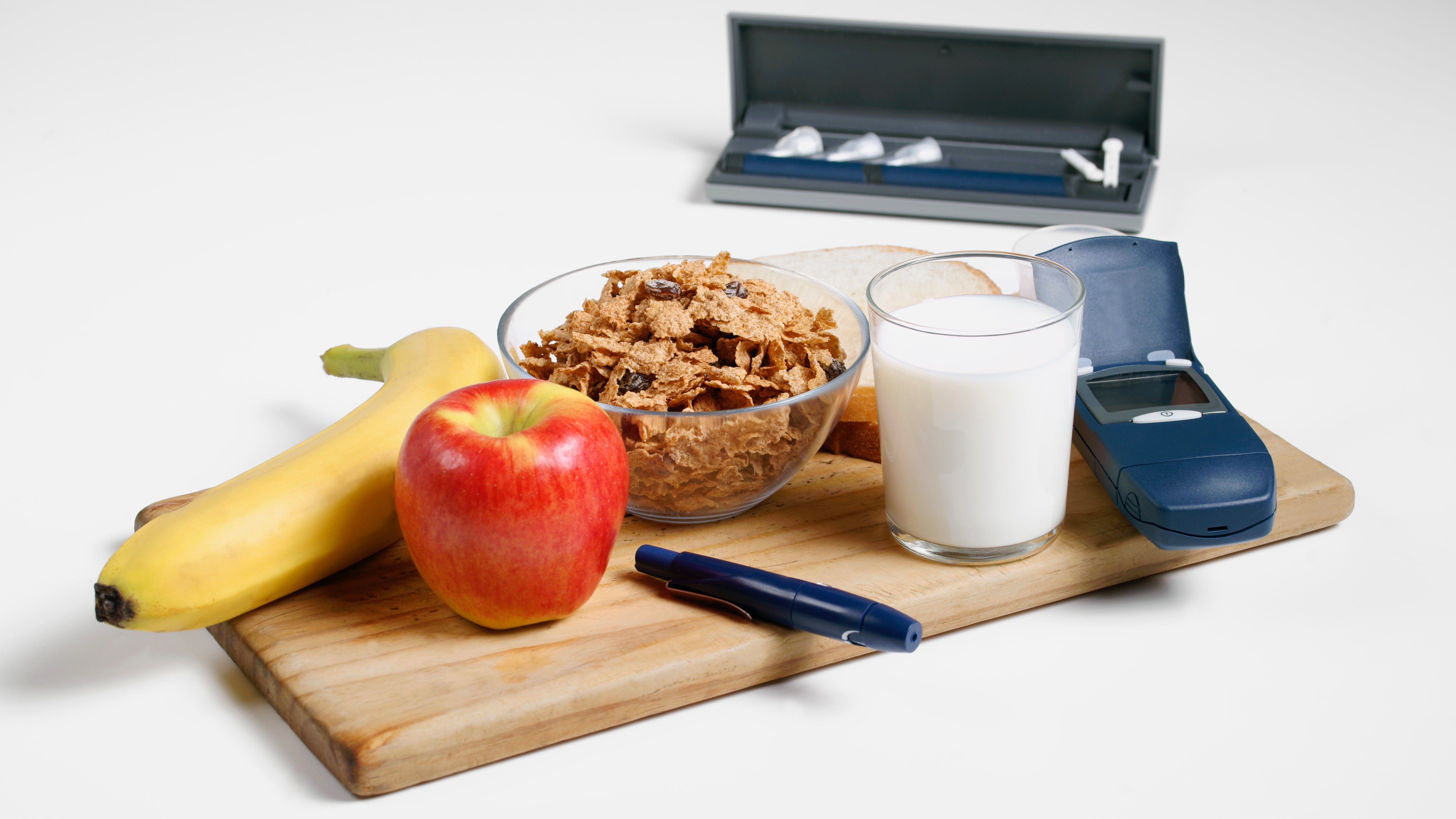 Healthy diabetic breakfast with testing and delivery devices