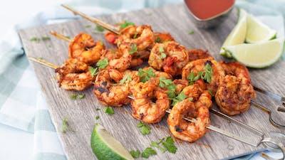 Buttery harissa shrimp skewers