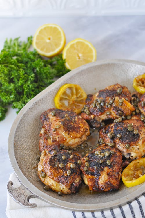 Crispy keto chicken thighs with lemon butter caper sauce