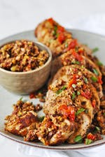 Pork tenderloin with olive tapenade