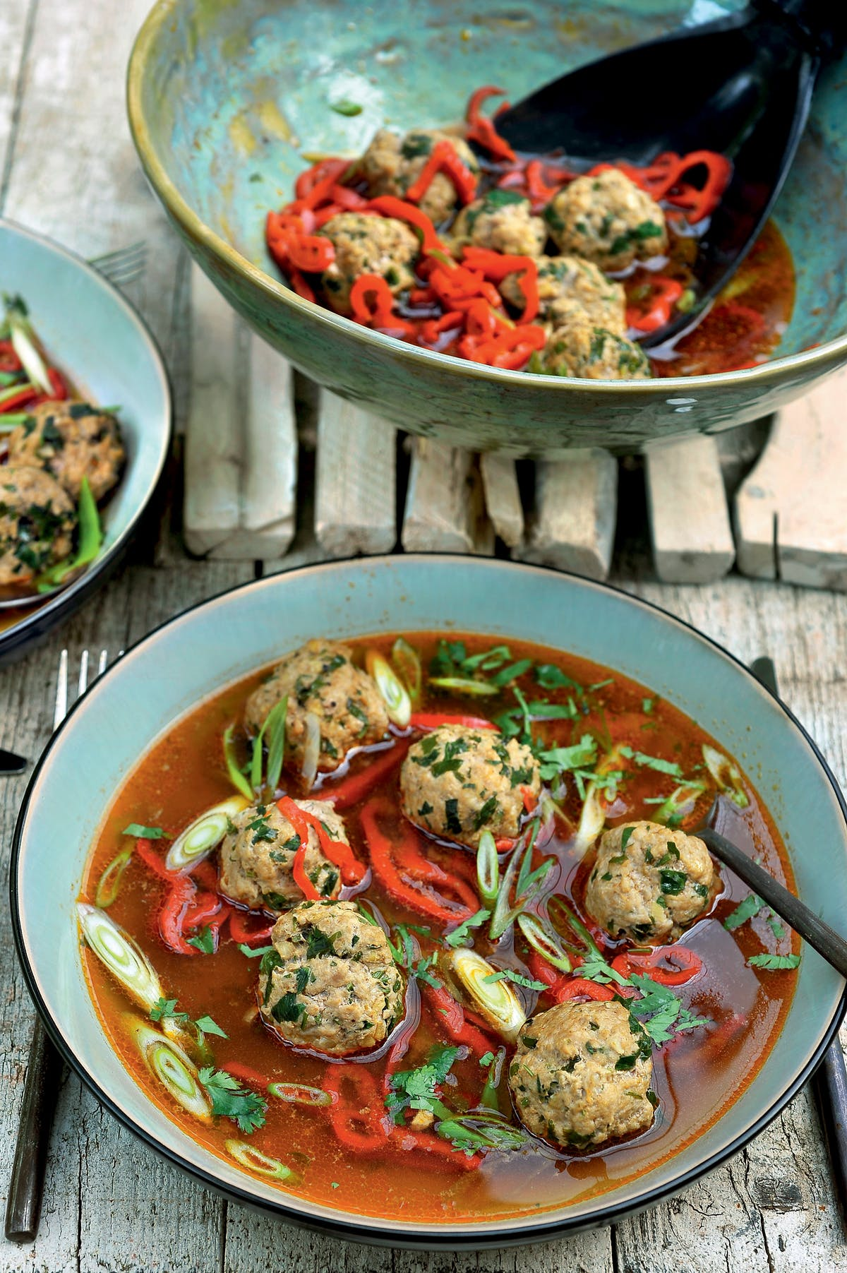 Meatballs in ginger-soy broth