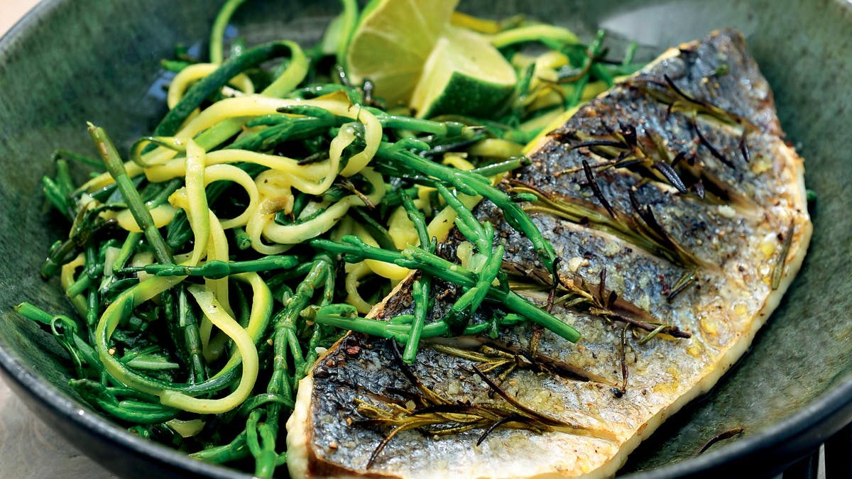 Sea bass with zucchini and sea beans
