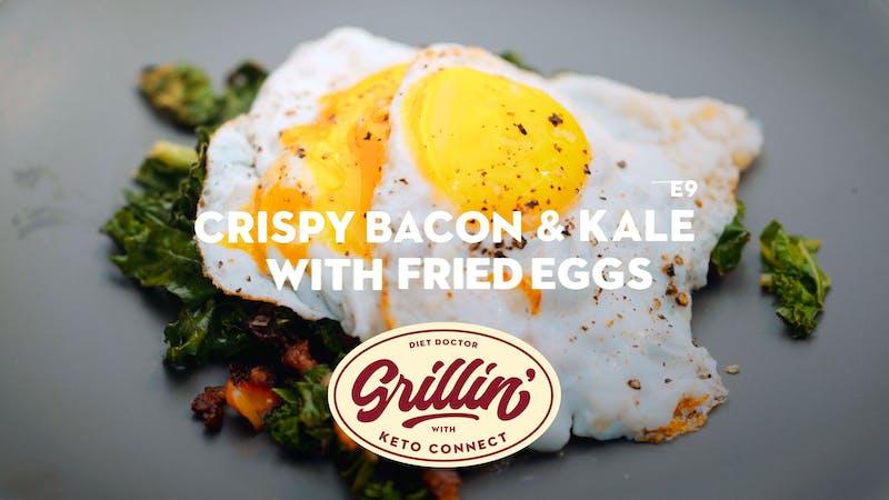 Crispy bacon & kale with fried eggs