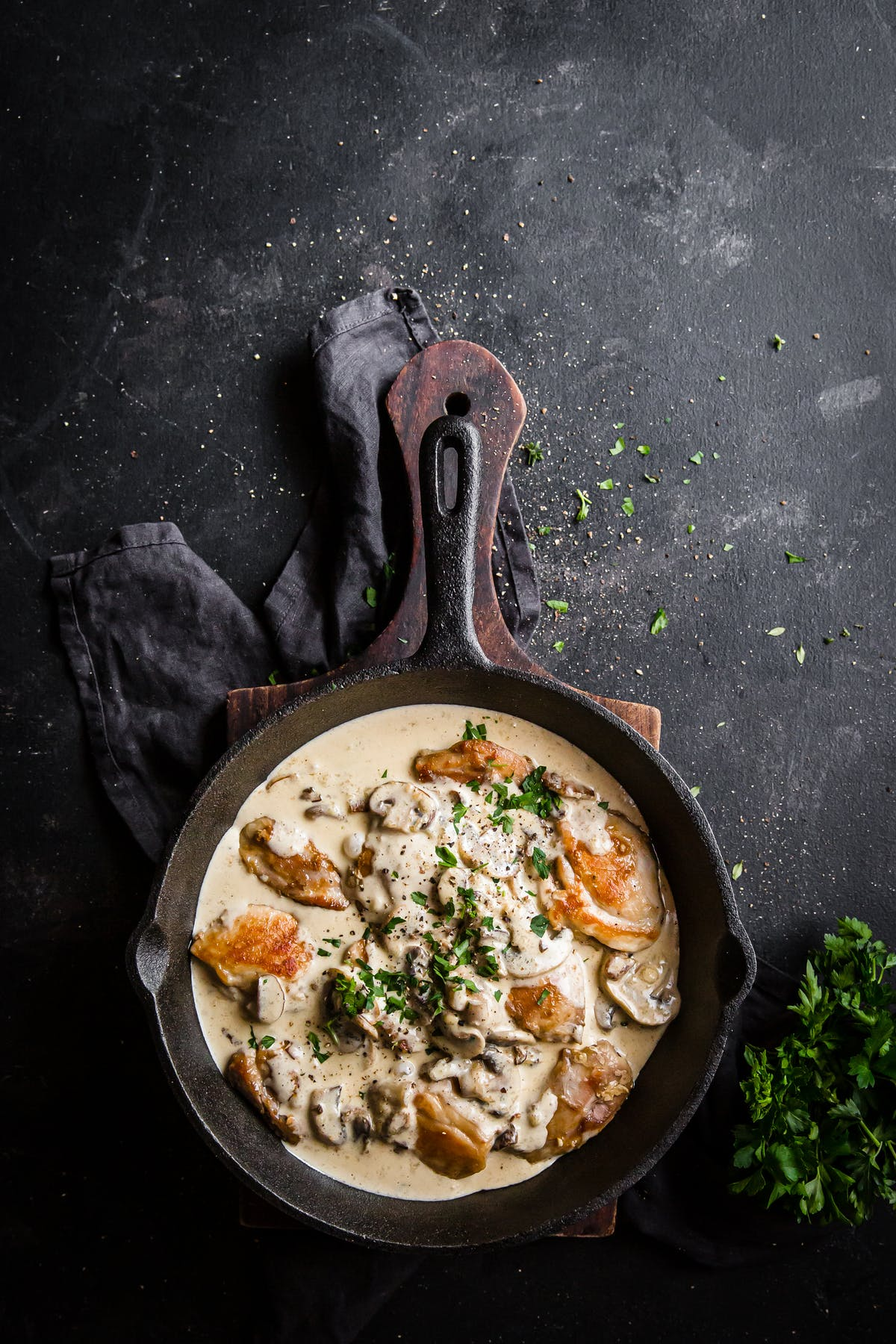 Lisa's keto chicken skillet with mushrooms and parmesan