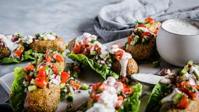 Low-carb vegan kebab wraps with garlic sauce