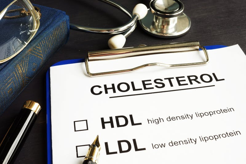 Cholesterol, hdl and ldl. Medical form on a desk.