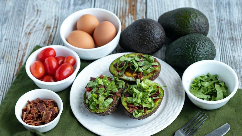 Keto BLT baked avocado eggs