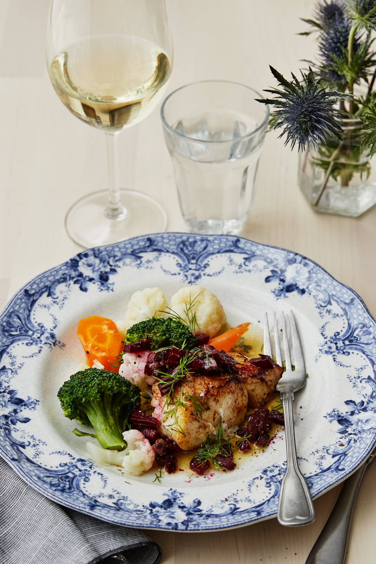 Pan-fried cod with beet salad and browned butter
