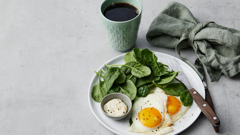 Simple keto breakfast with fried eggs