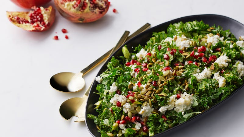 Kale salad with goat cheese and pomegranate