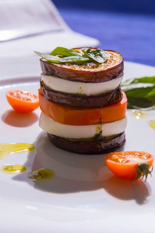 Low-carb eggplant towers