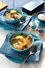 Low-carb seafood soup with garlic mayo