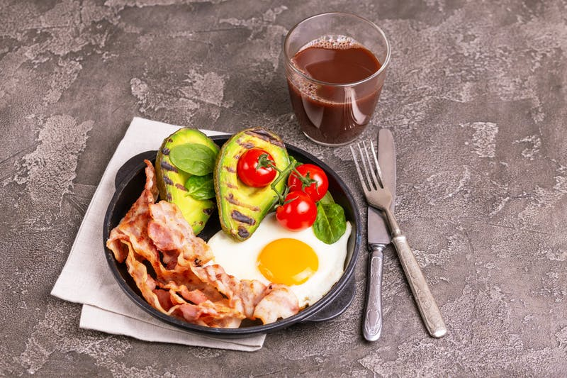 Ketogenic diet. Low carb high fat breakfast. Healthy food concept