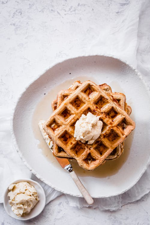 Keto cinnamon chaffles with maple cream cheese