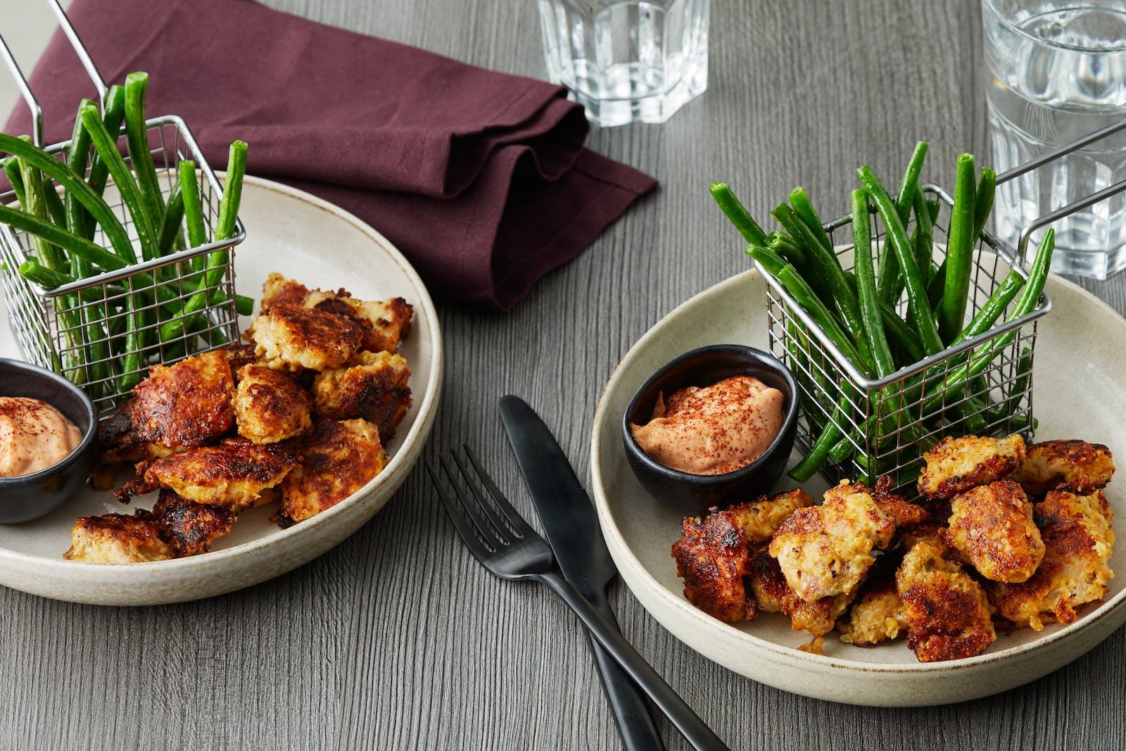 Keto Chicken Nuggets, Green Bean Fries & Dip — Recipe (Video) — Diet Doctor