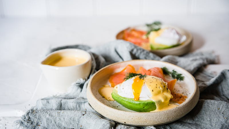 Keto egg benedict on avocado
