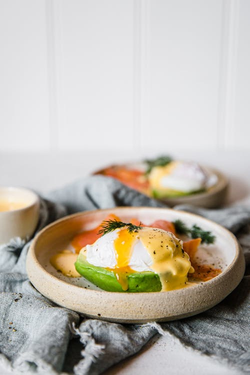 Keto eggs Benedict on avocado