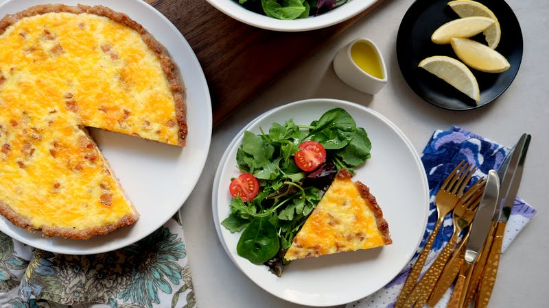 Sausage-crusted keto quiche