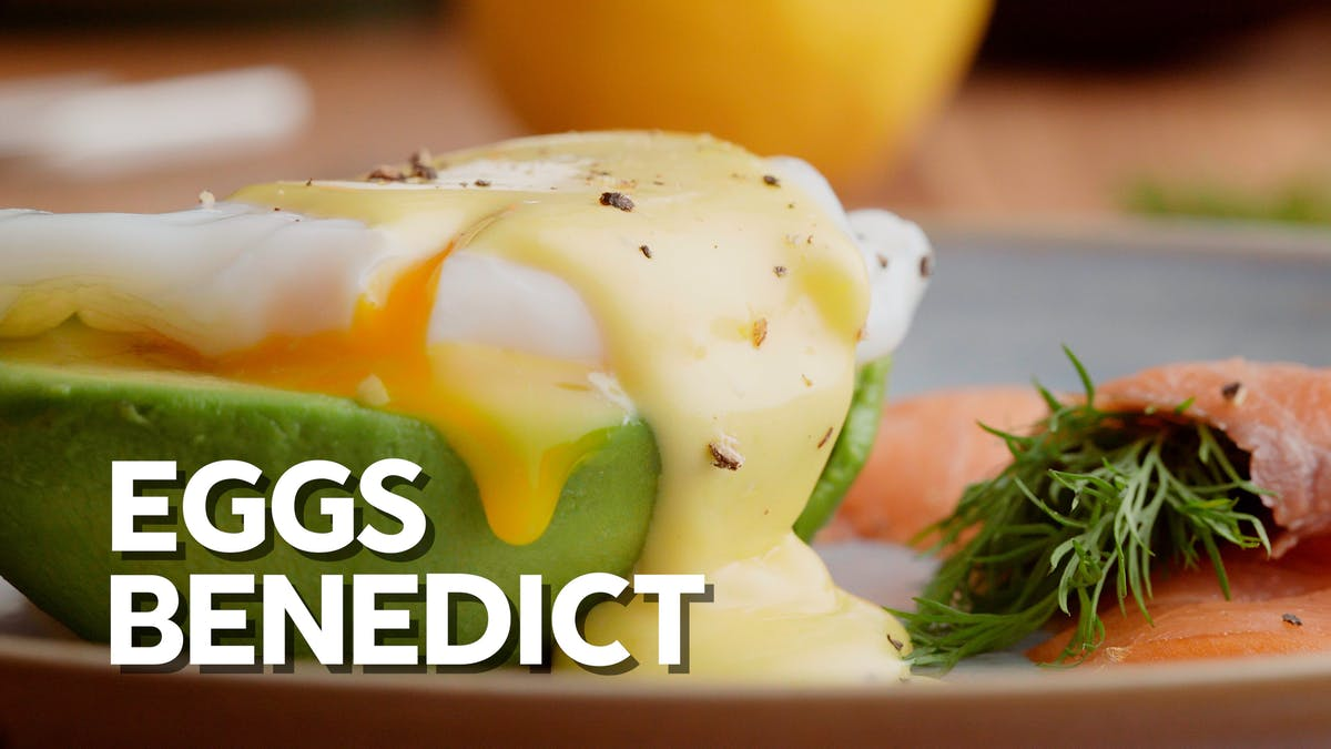 Eggs Benedict on avocado