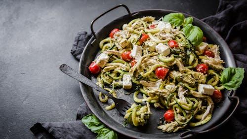 Keto chicken pesto zoodle salad