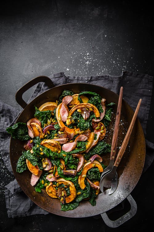 Roasted butternut squash and kale salad with lamb fillet
