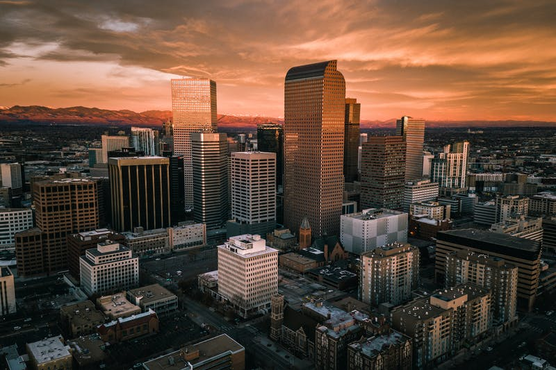 Aerial drone photo – Sunrise over city of Denver Colorado