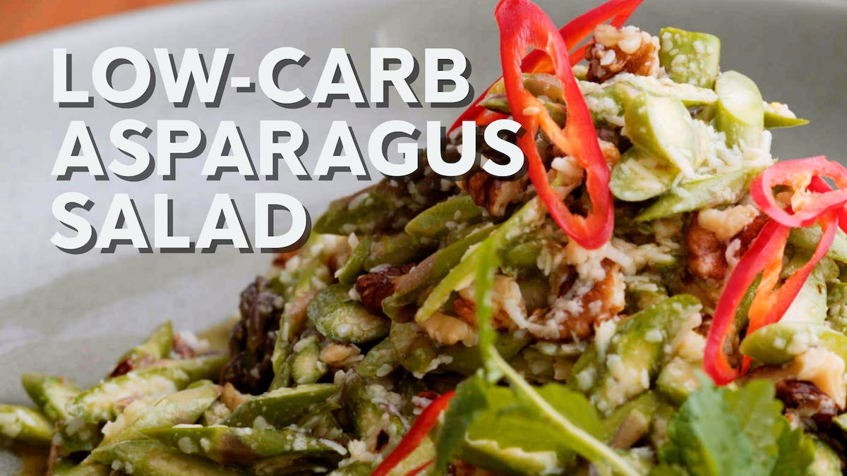 Cooking video: Low-carb asparagus salad with walnuts