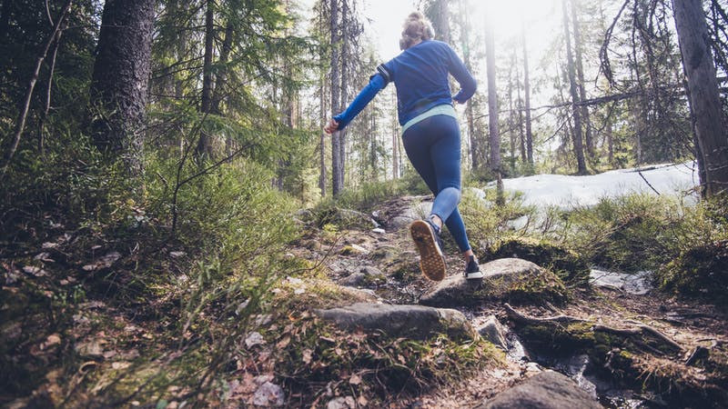 Woman trail runner running in forest.