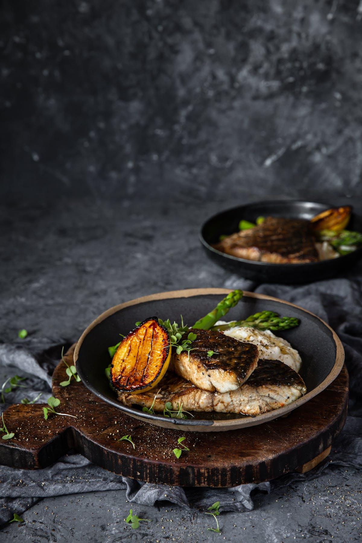 Pan-seared barramundi with lemon and cauliflower mash
