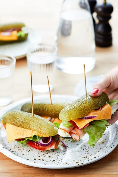 Pickle sandwich with deli turkey and mustard mayo