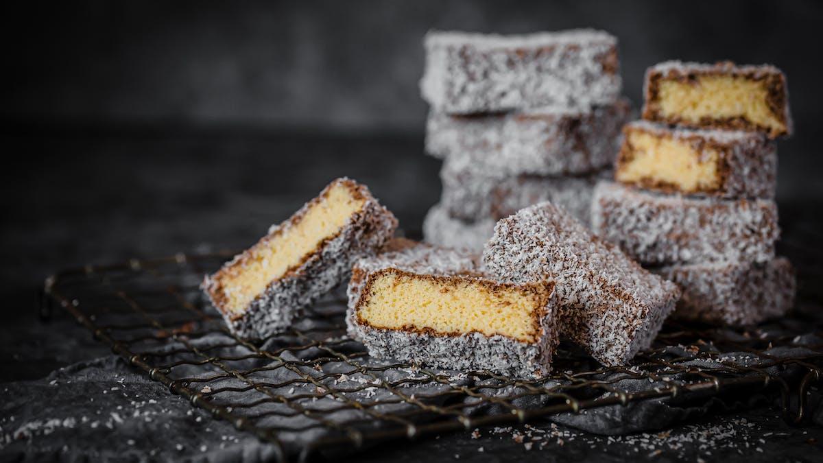 Low-carb chocolate and vanilla lamingtons
