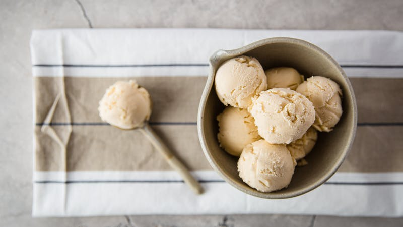 Creamy dairy-free keto vanilla ice cream