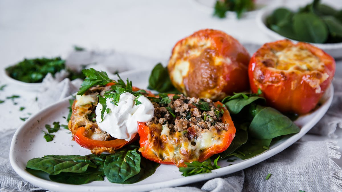 Italian stuffed bell peppers with ground turkey
