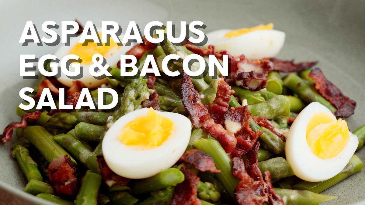 Cooking video: Asparagus, egg & bacon salad