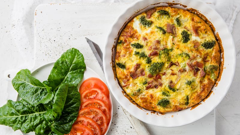 Crustless keto broccoli and bacon quiche