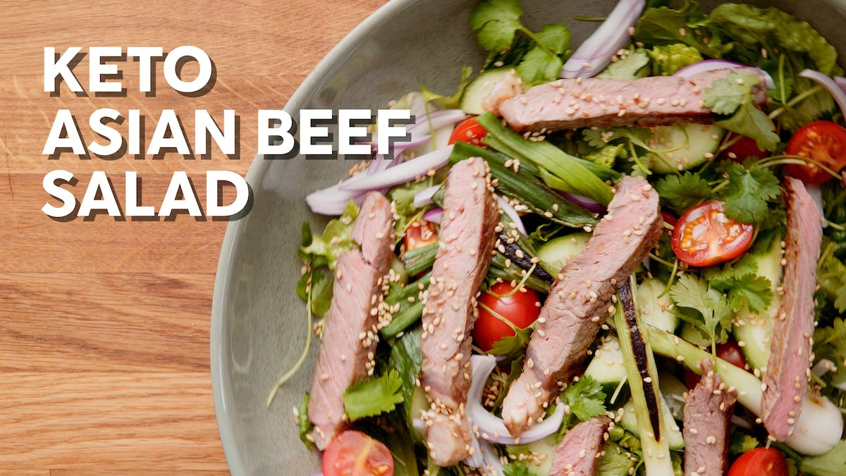 Cooking video: Keto Asian beef salad